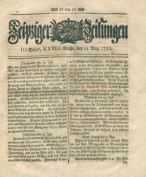 Leipziger Zeitungen vom 12.08.1750