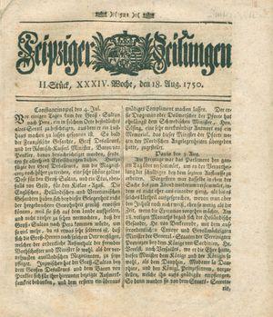 Leipziger Zeitungen vom 18.08.1750