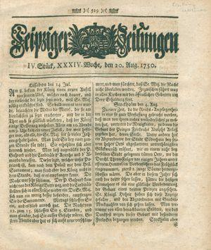 Leipziger Zeitungen vom 20.08.1750