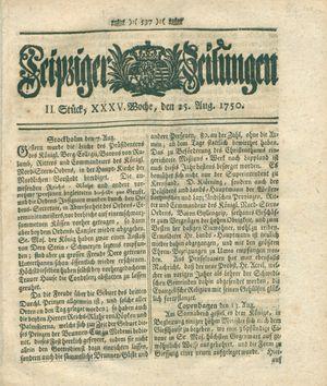 Leipziger Zeitungen vom 25.08.1750