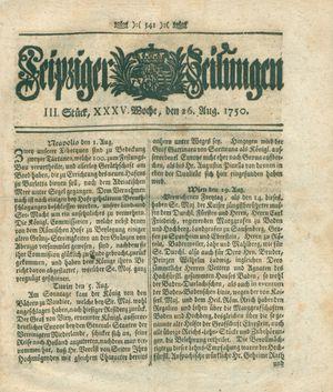 Leipziger Zeitungen vom 26.08.1750