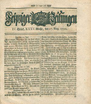 Leipziger Zeitungen vom 27.08.1750