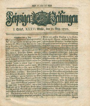 Leipziger Zeitungen vom 31.08.1750