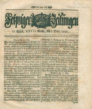 Leipziger Zeitungen vom 01.09.1750