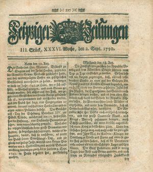 Leipziger Zeitungen vom 02.09.1750