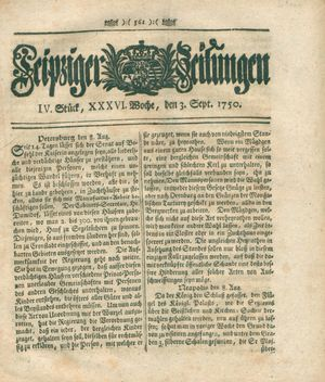 Leipziger Zeitungen vom 03.09.1750