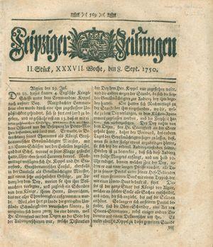Leipziger Zeitungen vom 08.09.1750