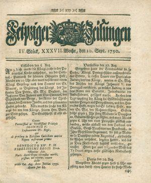 Leipziger Zeitungen vom 10.09.1750