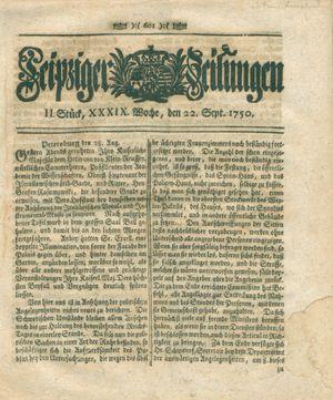 Leipziger Zeitungen vom 22.09.1750