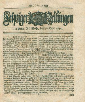 Leipziger Zeitungen vom 30.09.1750