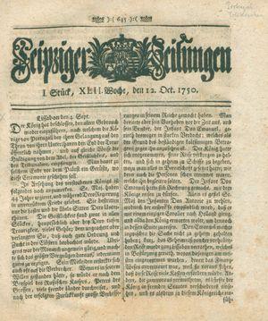 Leipziger Zeitungen vom 12.10.1750