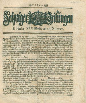 Leipziger Zeitungen vom 14.10.1750