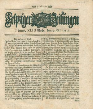 Leipziger Zeitungen vom 19.10.1750