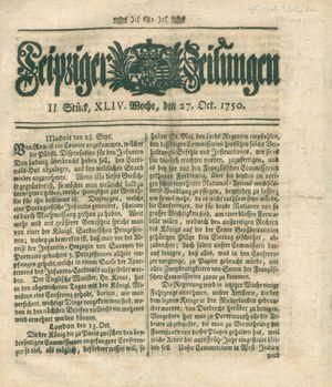 Leipziger Zeitungen vom 27.10.1750
