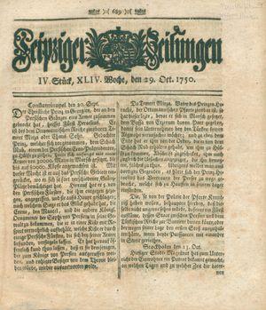 Leipziger Zeitungen vom 29.10.1750