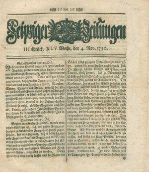 Leipziger Zeitungen vom 04.11.1750