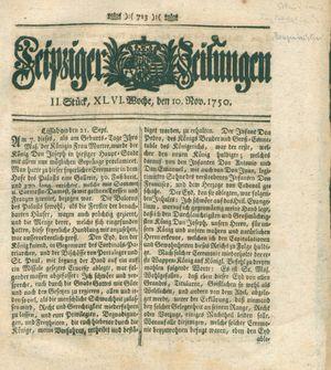 Leipziger Zeitungen vom 10.11.1750