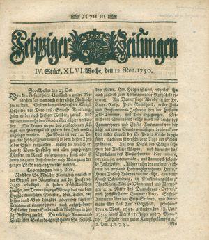 Leipziger Zeitungen vom 12.11.1750