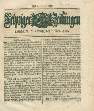 Leipziger Zeitungen vom 16.11.1750