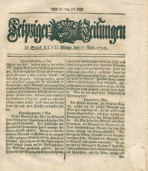 Leipziger Zeitungen vom 17.11.1750