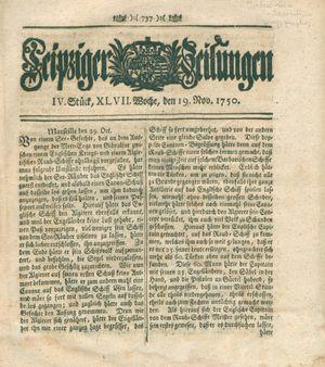 Leipziger Zeitungen vom 19.11.1750