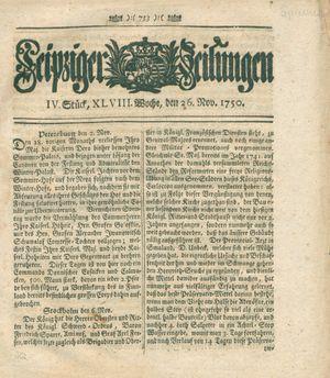 Leipziger Zeitungen vom 26.11.1750