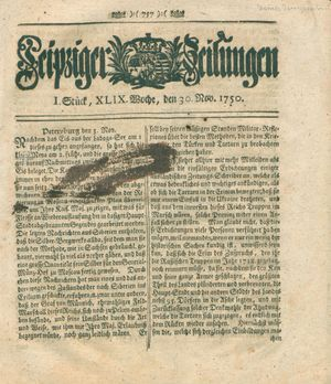 Leipziger Zeitungen vom 30.11.1750