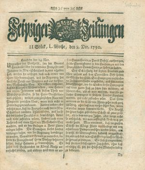 Leipziger Zeitungen vom 08.12.1750