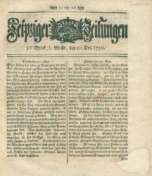 Leipziger Zeitungen vom 10.12.1750