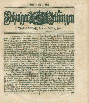 Leipziger Zeitungen vom 14.12.1750