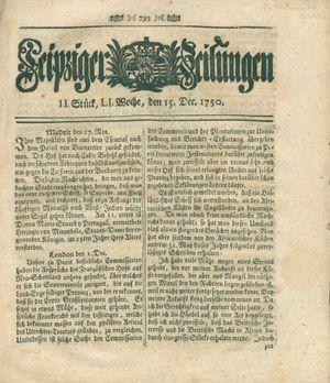 Leipziger Zeitungen vom 15.12.1750