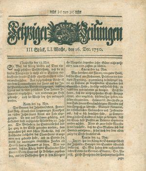 Leipziger Zeitungen vom 16.12.1750