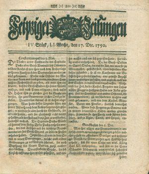 Leipziger Zeitungen vom 17.12.1750