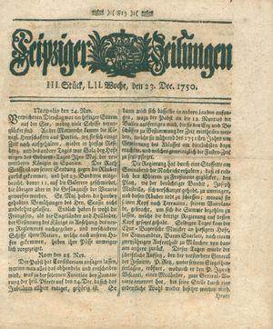 Leipziger Zeitungen vom 23.12.1750