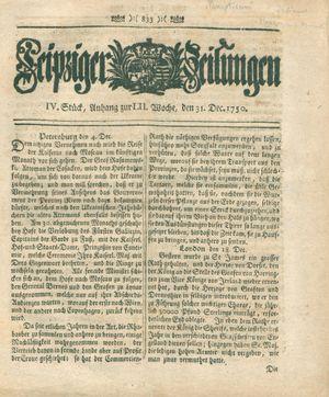 Leipziger Zeitungen vom 31.12.1750