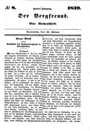 ˜Derœ Bergfreund vom 22.02.1839