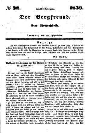 ˜Derœ Bergfreund vom 20.09.1839