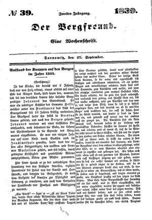 ˜Derœ Bergfreund vom 27.09.1839