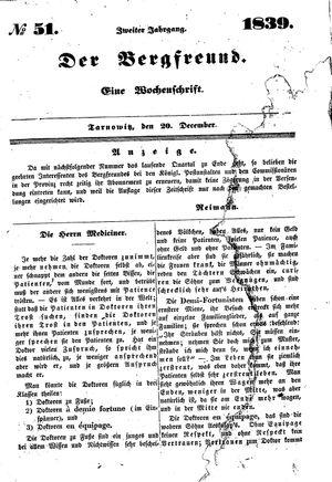 ˜Derœ Bergfreund vom 20.12.1839
