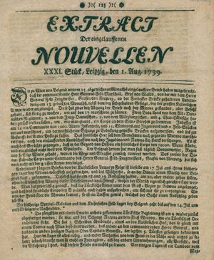 Extract der eingelauffenen Nouvellen on Aug 1, 1739