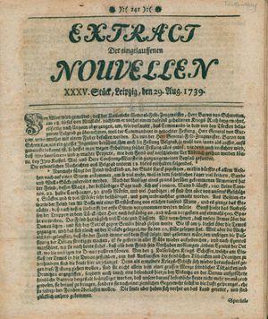 Extract der eingelauffenen Nouvellen vom 29.08.1739