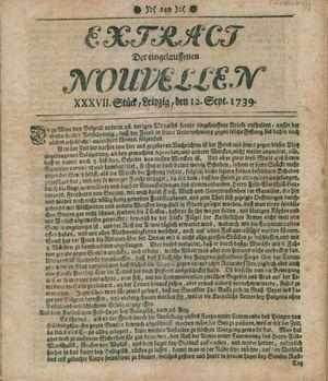 Extract der eingelauffenen Nouvellen vom 12.09.1739