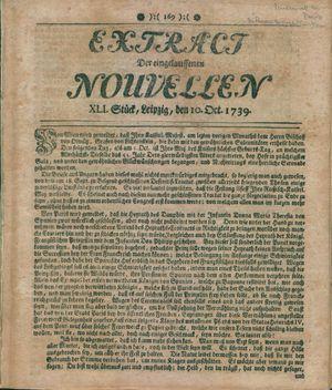 Extract der eingelauffenen Nouvellen vom 10.10.1739