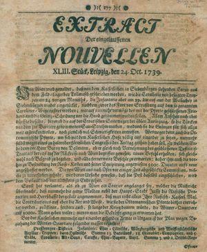Extract der eingelauffenen Nouvellen vom 24.10.1739