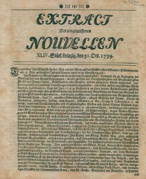 Extract der eingelauffenen Nouvellen vom 31.10.1739