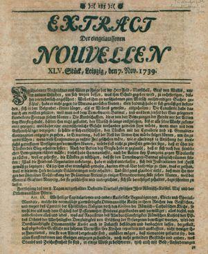 Extract der eingelauffenen Nouvellen vom 07.11.1739