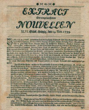 Extract der eingelauffenen Nouvellen vom 14.11.1739
