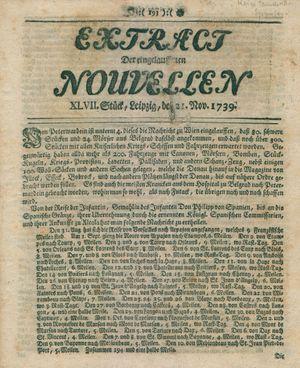 Extract der eingelauffenen Nouvellen vom 21.11.1739