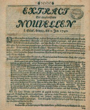 Extract der eingelauffenen Nouvellen vom 02.01.1740