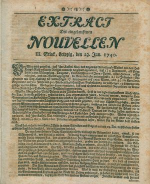 Extract der eingelauffenen Nouvellen vom 23.01.1740